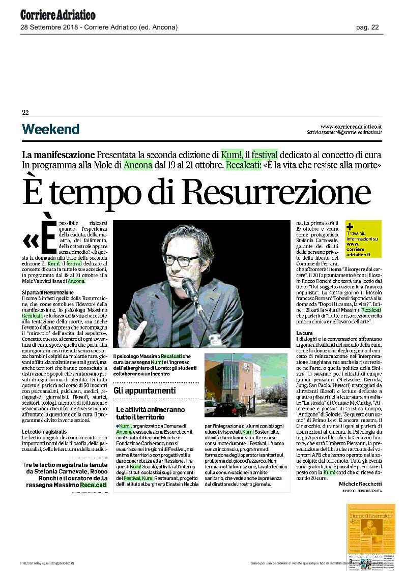 KUM! sul Corriere Adriatico del 28 settembre 2018