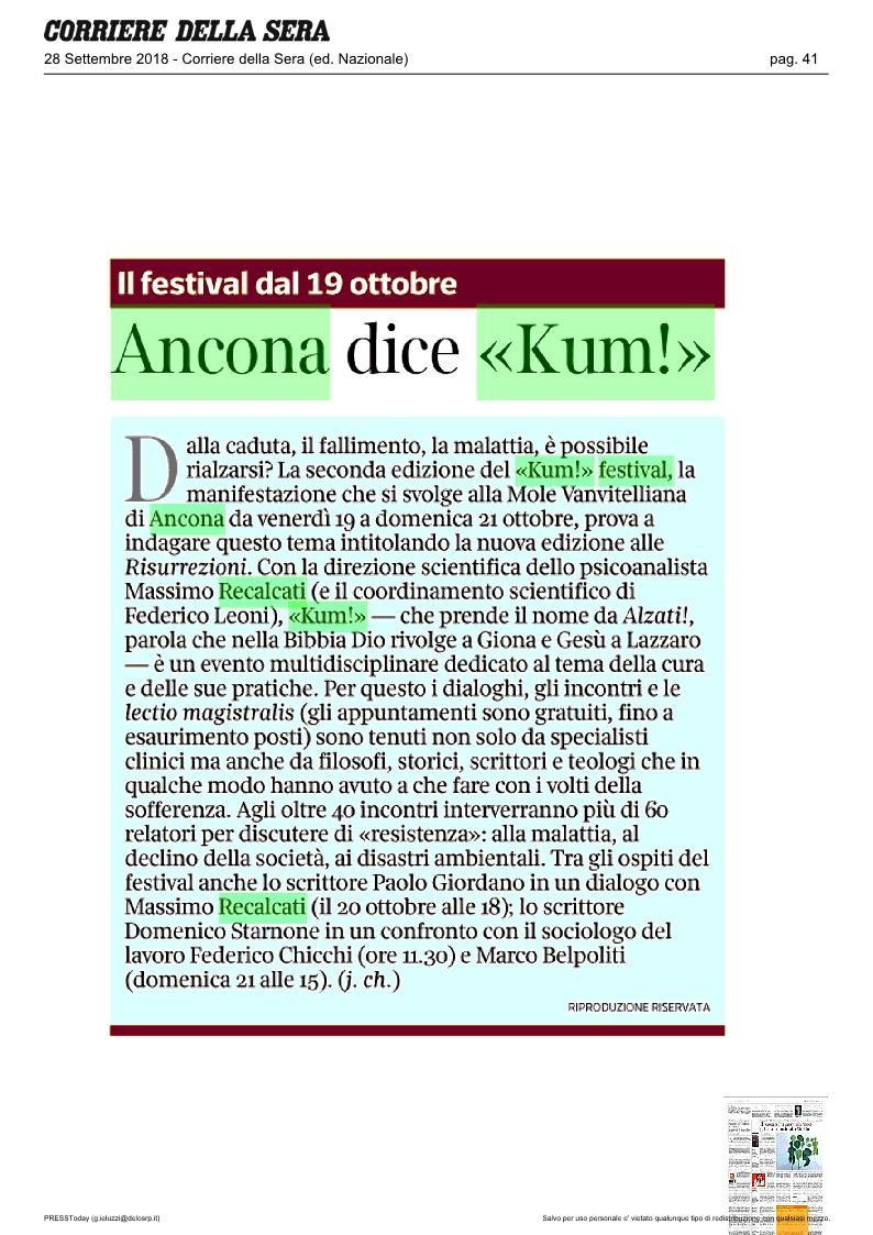 KUM! su il Corriere della Sera del 28 settembre 2018