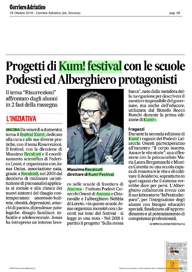 KUM! sul Corriere Adriatico del 16 ottobre 2018