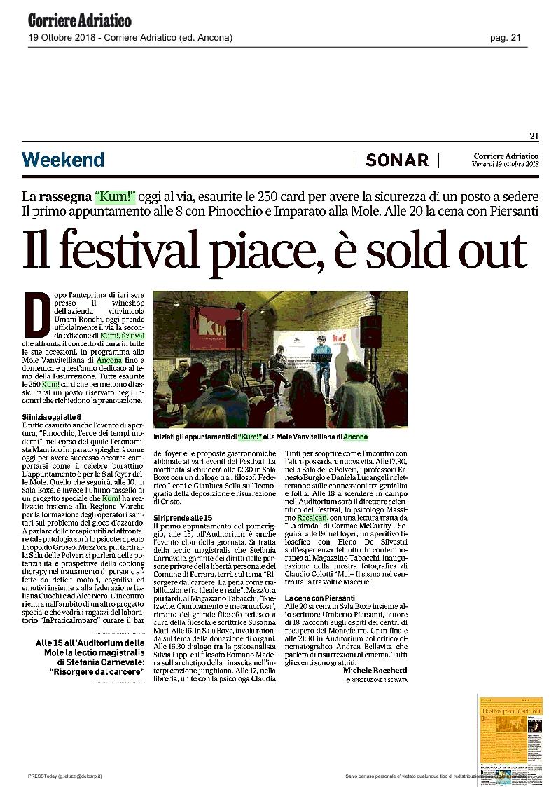 KUM! sul Corriere Adriatico del 19 ottobre 2018