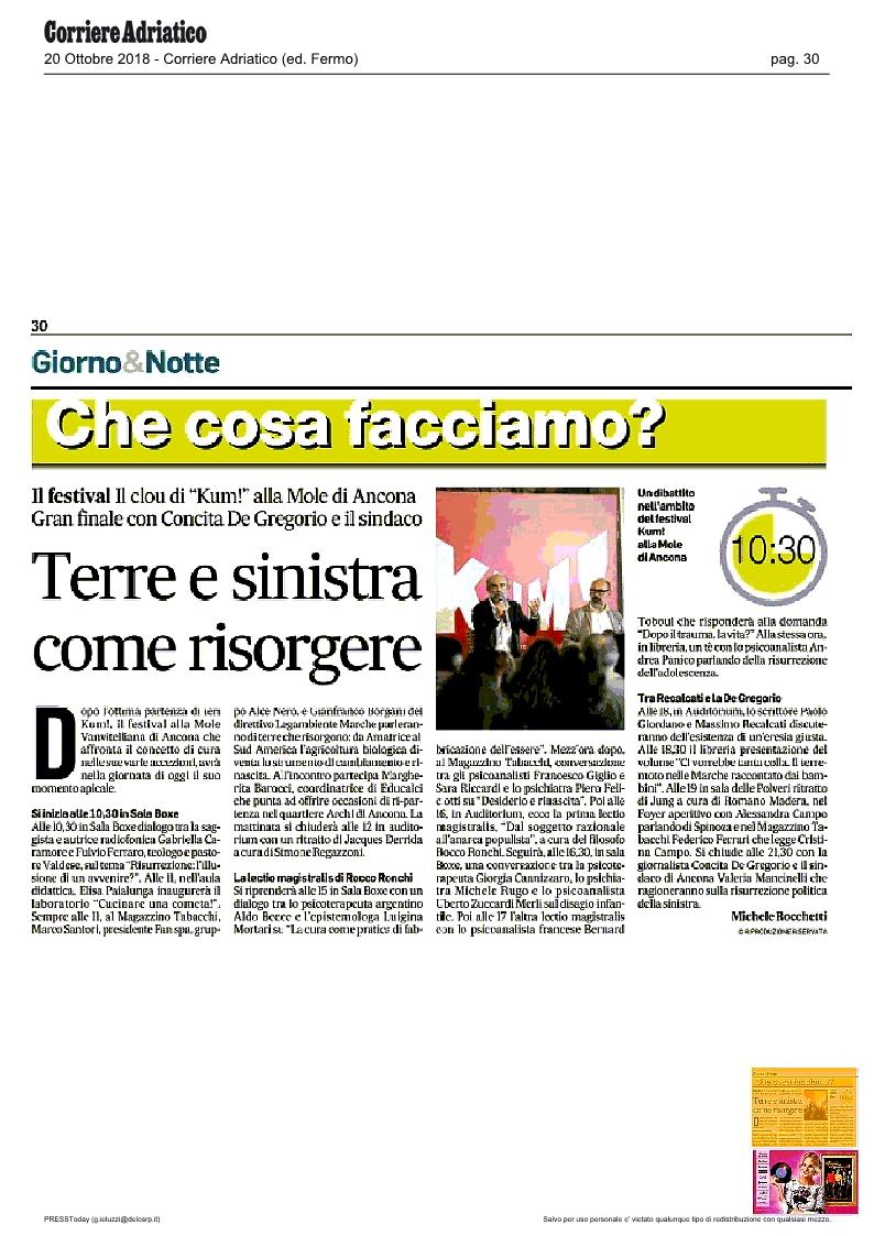 KUM! sul Corriere Adriatico del 20 ottobre 2018