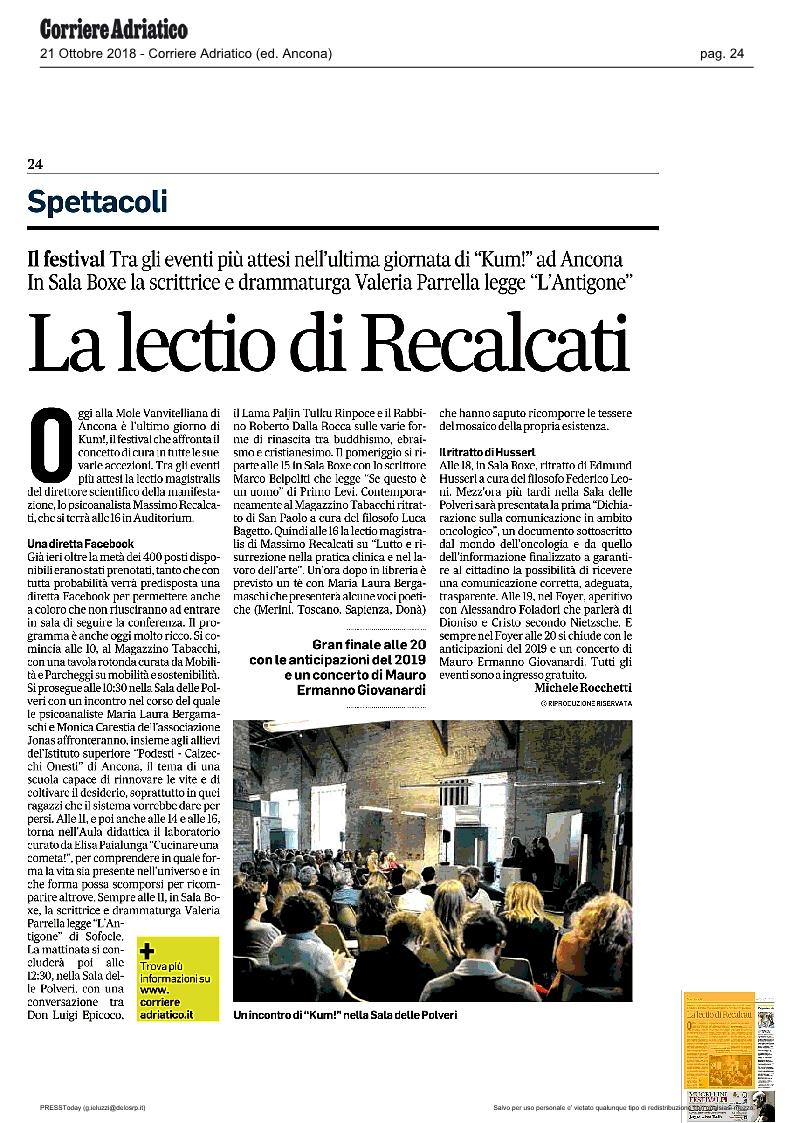 KUM! sul Corriere Adriatico del 21 ottobre 2018