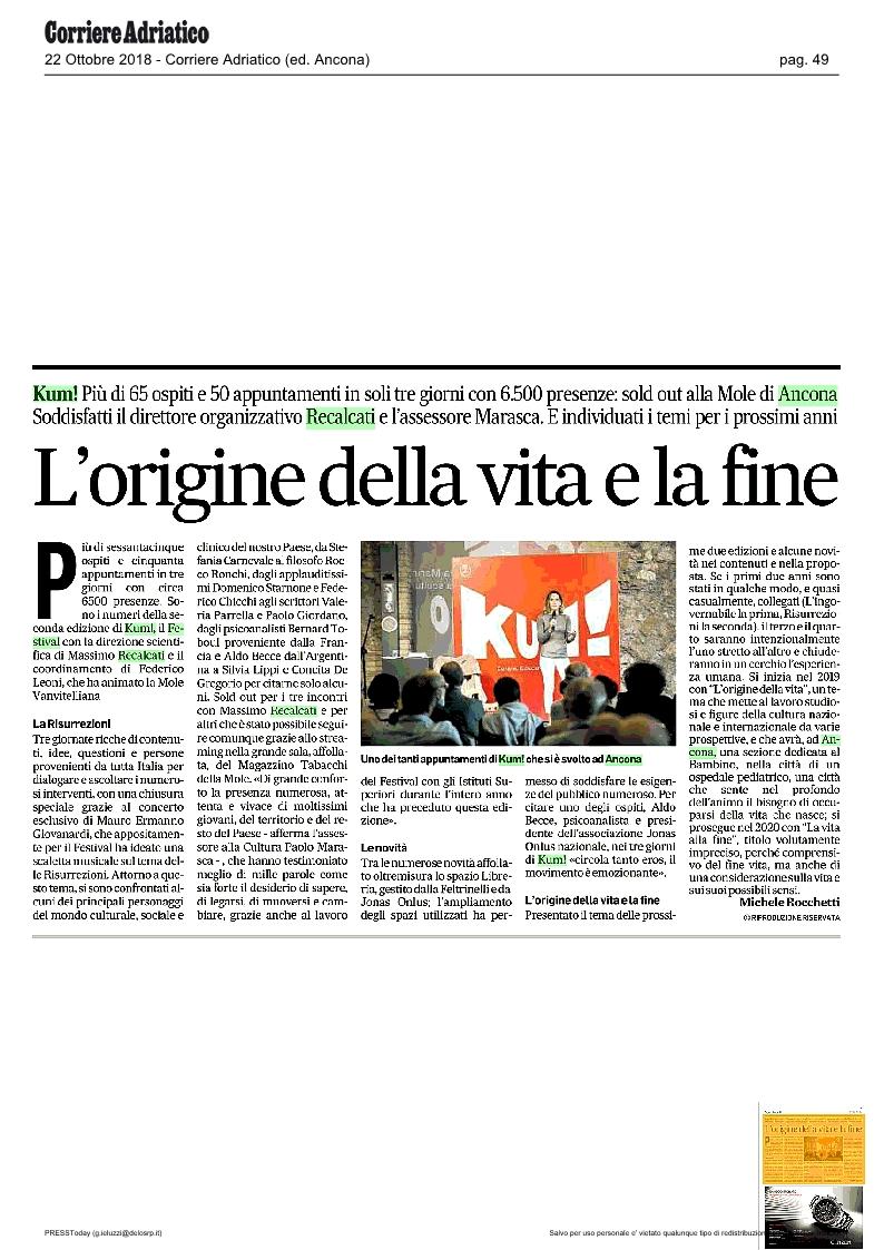 KUM! sul Corriere Adriatico del 22 ottobre 2018
