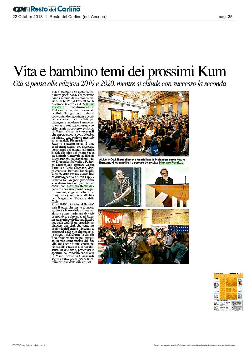 KUM! su il Resto del Carlino del 22 ottobre 2018